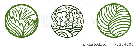 Set of abstract composed circles with leaves. trees, meadows. Geometrical shape compositions 72334600