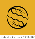 Composition of an abstract circle of leaves. Autumnal logo 72334607