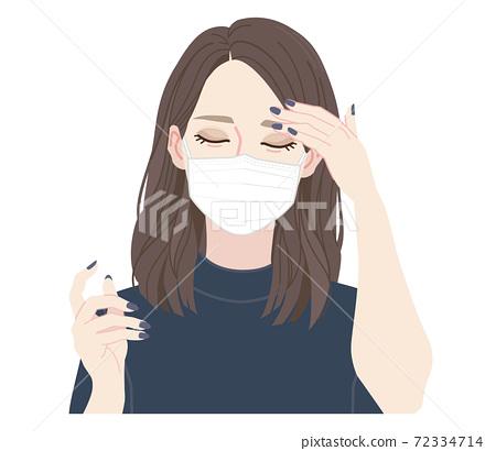 마스크를 착용 한 남자. 컨디션이 나쁜 모습의 여자. 72334714