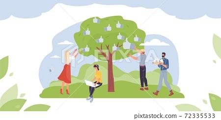 Flat cartoon characters harvesting social media symbols,vector illustration concept 72335533