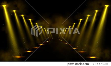Corridor or gallery illuminated by spotlights 72336086