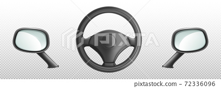 Car steering wheel and side rear view mirrors 72336096