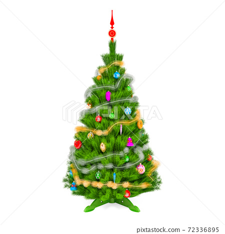 Christmas tree with Christmas decoration, 3D rendering 72336895