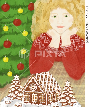 Christmas illustration with gingerbread house, christmas tree and girl, for postcard, poster or print 72338218
