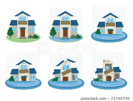 矢量插圖集的房屋遭受洪水破壞 72340740