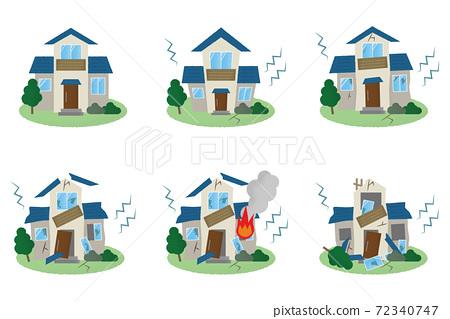 지진의 피해를당하는 주택의 벡터 일러스트 세트 72340747
