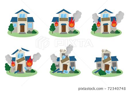 矢量圖組的房子在火中 72340748