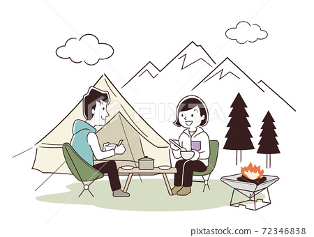矢量圖素材:夫婦在戶外,露營,冬天 72346838