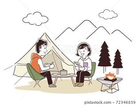 矢量圖素材:夫婦在戶外,露營,秋天 72346839