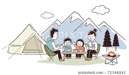 矢量圖素材:家庭戶外活動,露營,冬季 72346842