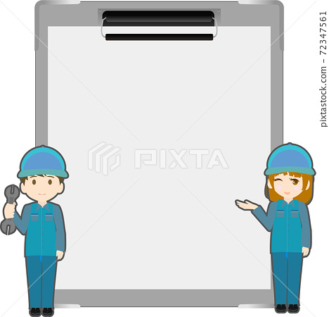 Illustration of a binder and a cute mechanic 72347561