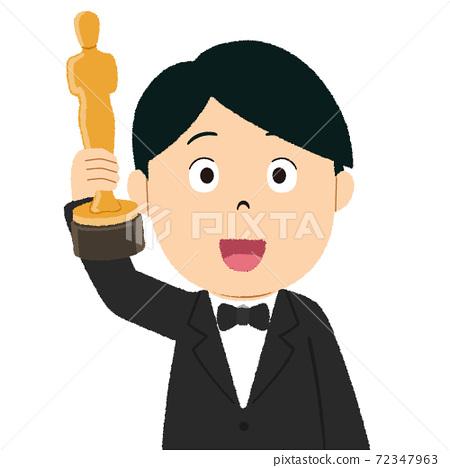 獎杯得獎演員的插圖 72347963