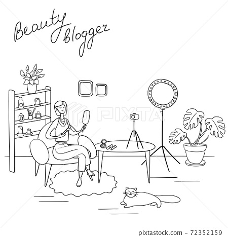 Beauty blogger. Young woman records video. Makeup artist reviews cosmetics on her blog. Hand drawn vector illustration in cartoon style 72352159