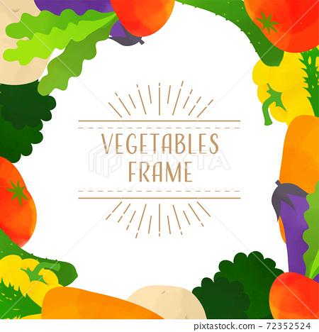 蔬菜的框架插圖(白色背景,矢量,水彩) 72352524