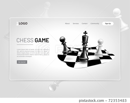 Chess Game Pieces 3D Landing Page 72353483
