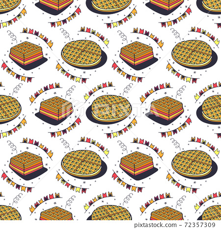 Waffles. Seamless pattern on a white background. Cute vector illustration. 72357309