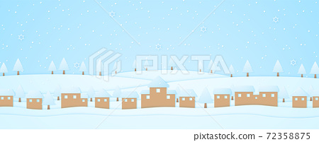 winter landscape, village and trees on hill with snow falling and snowflake, paper art style 72358875