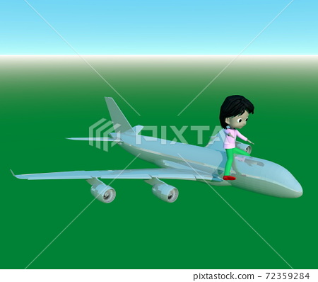 A child flying on a jet airliner 72359284