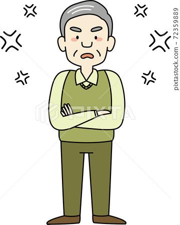 老人發脾氣時生氣(全身) 72359889