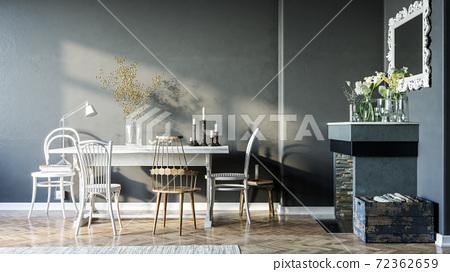Modern interior design in dark style. Black wall in interior. Fireplace in interior. 3d Illustration 72362659