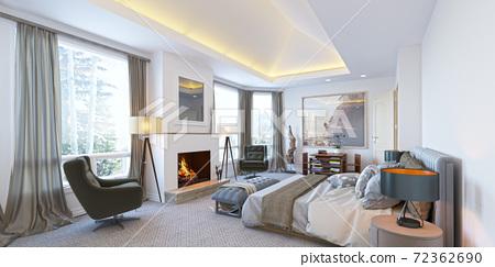 Comfortable bedroom interior. Luxury bedroom in the hotel 72362690