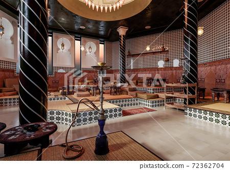 Interior Design in Moroccan Style. Oriental style in the interior. Hookah hall in oriental style. Arabic Design. 3d illustration. 72362704