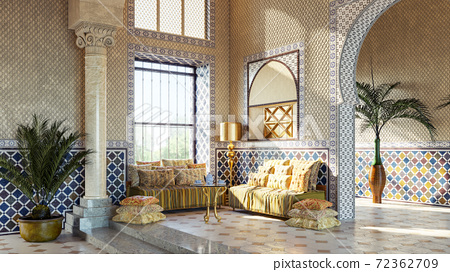 Entrance hall in Oriental style. Moroccan interior design. Rest zone in arabic style 72362709