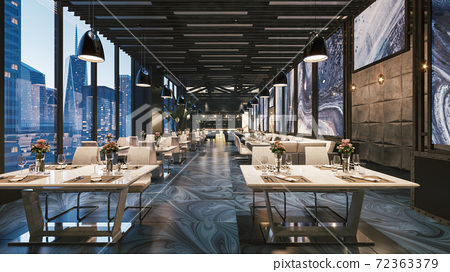 Restaurant with large windows. Modern restaurant interior. 3d illustration 72363379