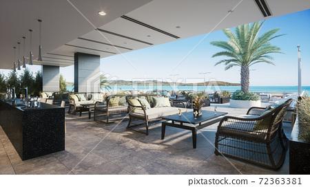 Summer terrace cafe. 3d illustration 72363381