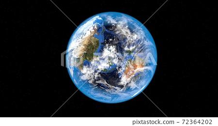 地球飛船漂浮在太空中,3D渲染 72364202
