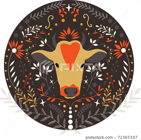 Chinese new year 2021 year of the ox, red and gold flowers and other elements in the circle.  72365387