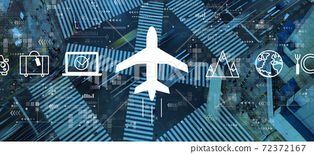 Flight ticket booking concept with city traffic intersection 72372167