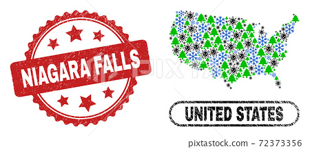 Niagara Falls Grunge Seal and United States Map Composition of Pandemic Winter 72373356