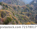 Amazing autumn landscape at Wudang Mountain , Shiyan City, Hubei Province, China. Colorful autumn sunrise in the mountain village.Beauty of nature concept background. 72378017