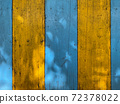 vintage yellow and blue wood background - old blue color wooden plank 72378022