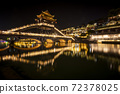 View of illuminated at night riverside houses in ancient town of Fenghuang known as Phoenix, China 72378025