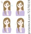 年輕的女士的面部表情集 72378319