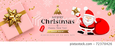 Merry Christmas Sale Santa Claus with pink gift box banner concept design on snowflake and gold ribbon pink background 72378426
