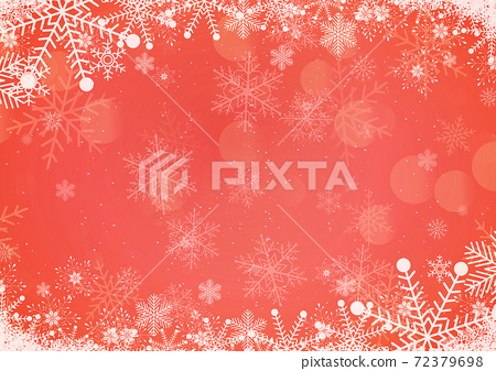 Vector winter red gradient Christmas background snowflake and snow border 72379698