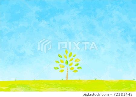 藍藍的天空和樹木的插圖 72381445