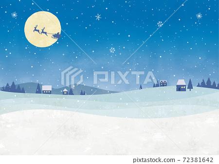 황혼의 크리스마스 눈의 도시 수채화 72381642