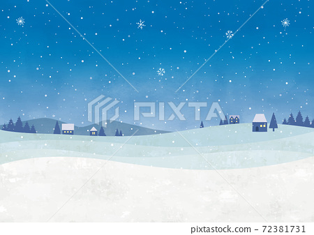 밤의 눈의 도시 수채화 72381731