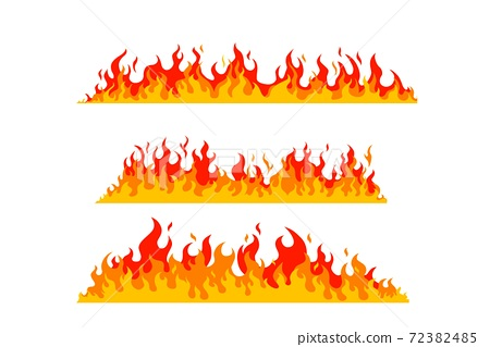 Flames of different shapes on a white background. 72382485