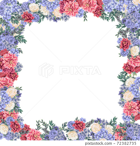 Floral frame for design save the date cards, invitations, posters and birthday decoration 72382735