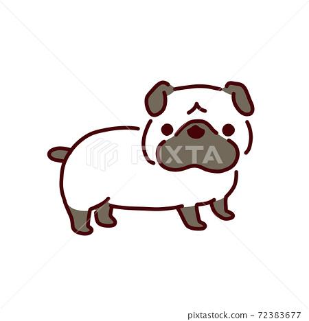 狗系列和可愛的哈巴狗的插圖 72383677
