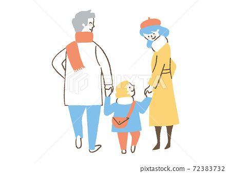 Family wearing a coat 72383732