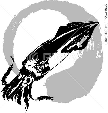 手寫的墨跡標記和魷魚圖 72384035