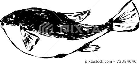 用墨水繪製的藝術河豚插圖 72384040
