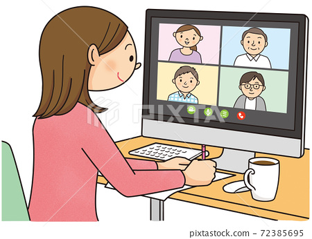 Young woman having a remote meeting 72385695
