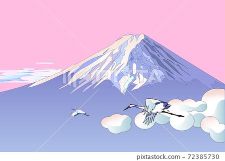 富士山和起重機在清晨的陽光 72385730